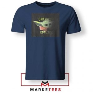 Baby Yoda Unknown Species Navy Blue Tee Shirt