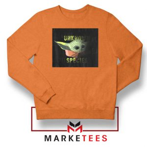 Baby Yoda Unknown Species Orange Sweater