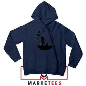 Baby Yoda and The Mandalorian Navy Blue Hoodie