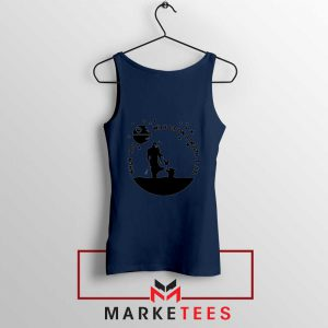 Baby Yoda and The Mandalorian Navy Blue Tank Top