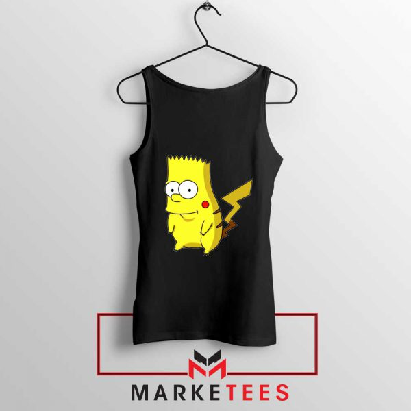 Bart Pikachu Simpson Black Tank Top