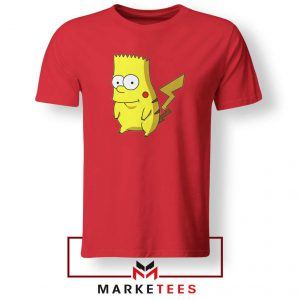 Bart Pikachu Simpson Red Tee Shirt