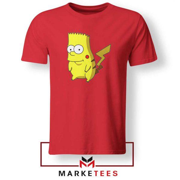 Bart Pikachu Simpson Red Tee Shirt
