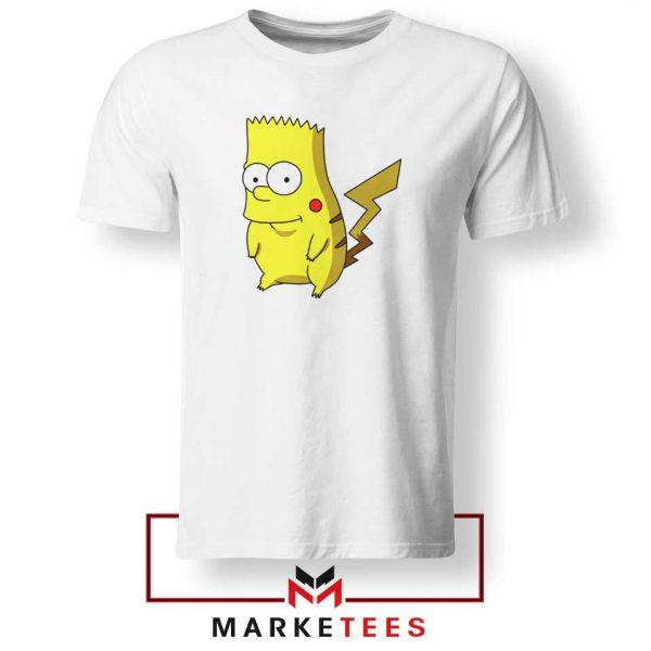 Bart Pikachu Simpson White Tee Shirt