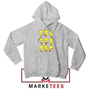 Bart Simpson Face Grey Hoodie