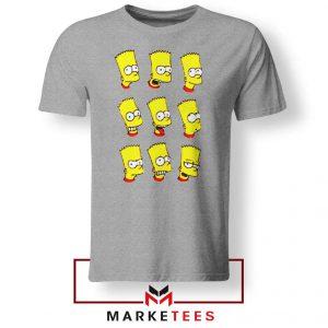 Bart Simpson Face Grey Tee Shirt