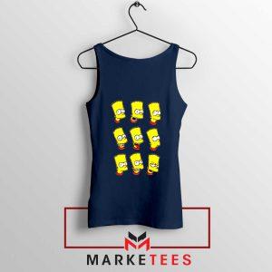 Bart Simpson Face Navy Blue Tank Top