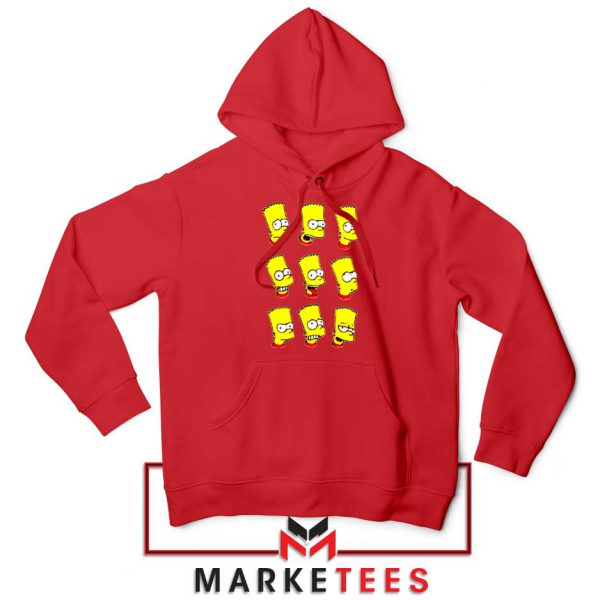 Bart Simpson Face Red Hoodie