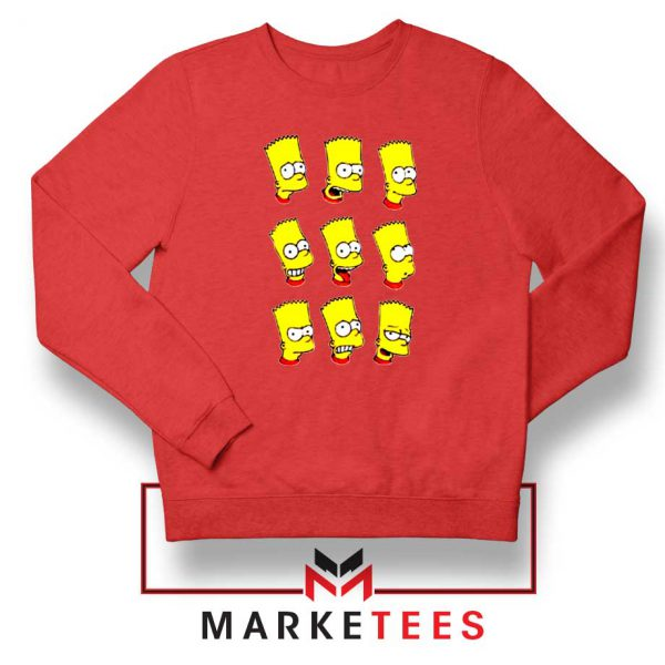 Bart Simpson Face Red Sweatshirt