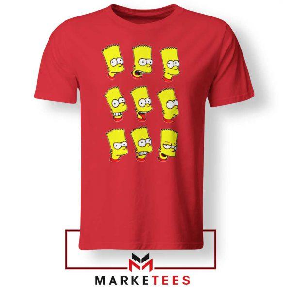 Bart Simpson Face Red Tee Shirt