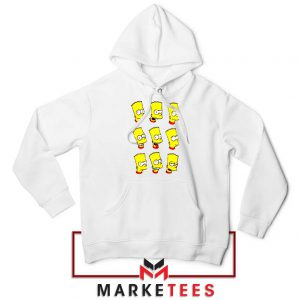 Bart Simpson Face White Hoodie