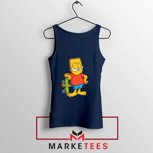 Bart Simpson Garfield Navy Blue Tank Top
