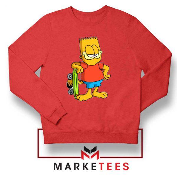 Bart Simpson Garfield Red Sweatshirt