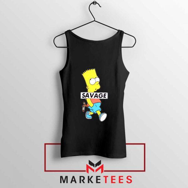 Bart Simpson Savage Black Tank Top
