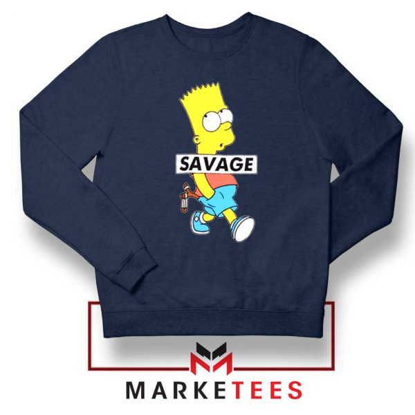 Bart Simpson Savage Navy Blue Sweatshirt