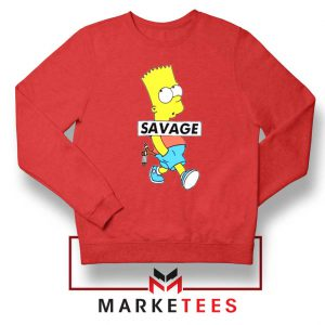 Bart Simpson Savage Red Sweatshirt