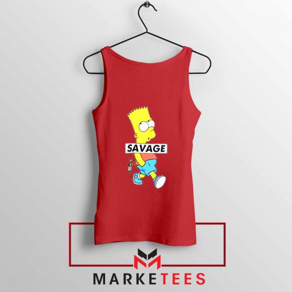 Bart Simpson Savage Red Tank Top