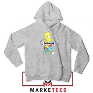 Bart Simpson Savage Sport Grey Hoodie