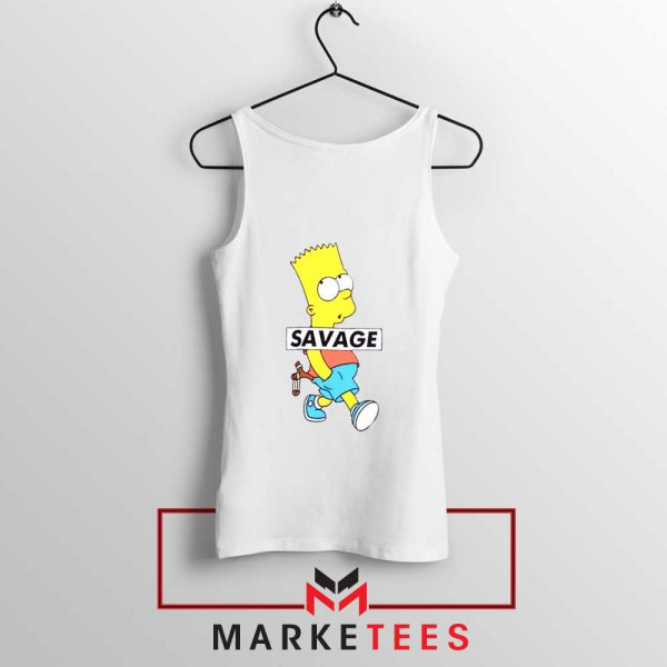 Bart Simpson Savage White Tank Top