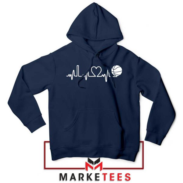 Basketball Heartbeat Graphic Navy Blue Hoodie