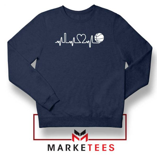 Basketball Heartbeat Graphic Navy Blue Sweatshirt