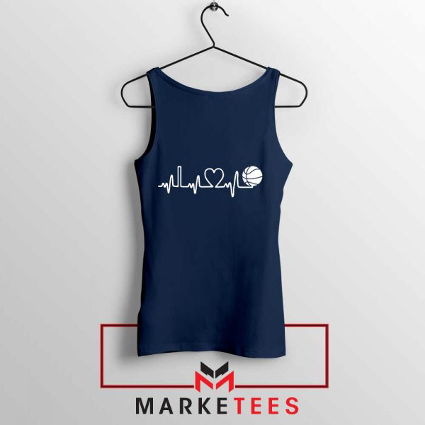Basketball Heartbeat Graphic Navy Blue Tank Top