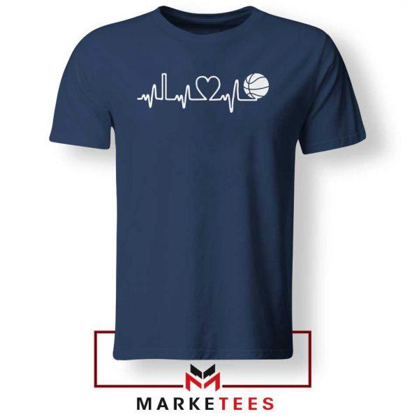 Basketball Heartbeat Graphic Navy Blue Tee Shirt