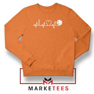 Basketball Heartbeat Graphic Orange Sweatshirt