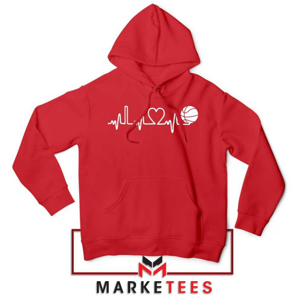 Basketball Heartbeat Graphic Red Hoodie