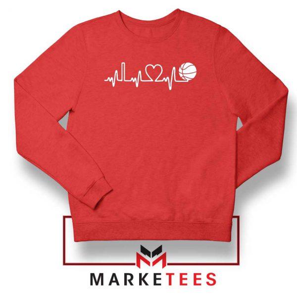 Basketball Heartbeat Graphic Red Sweatshirt