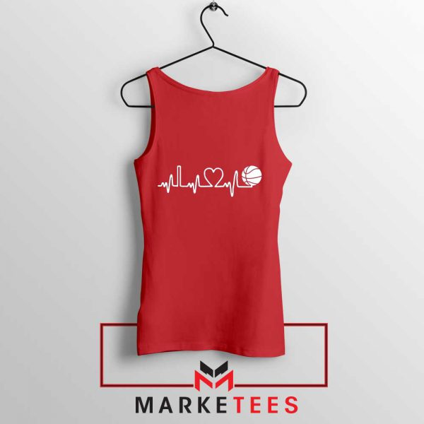 Basketball Heartbeat Graphic Red Tank Top