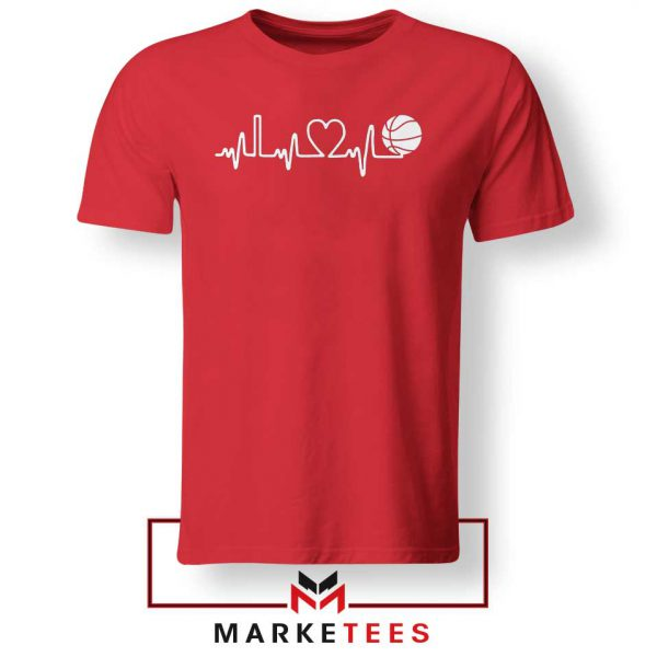 Basketball Heartbeat Graphic Red Tee Shirt