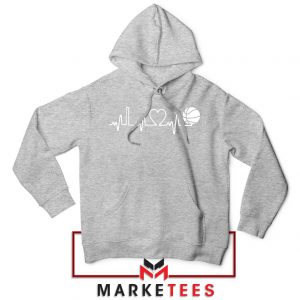 Basketball Heartbeat Graphic Sport Grey Hoodie