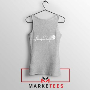 Basketball Heartbeat Graphic Sport Grey Tank Top