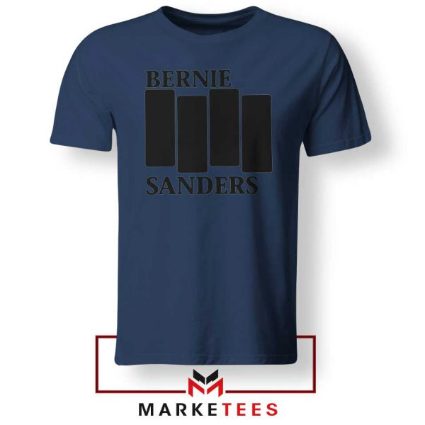 Bernie Sanders Black Flag Navy Blue Tee Shirt