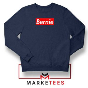 Bernie Supreme Parody Navy Blue Sweatshirt