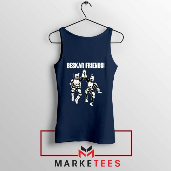 Beskar Friends The Mandalorian Navy Blue Tank Top