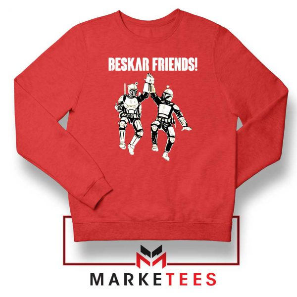 Beskar Friends The Mandalorian Red Sweatshirt