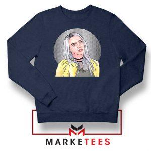 Billie Eilish Art Design Navy Blue Sweatshirt