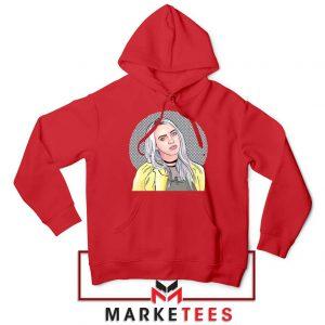 Billie Eilish Art Design Red Hoodie