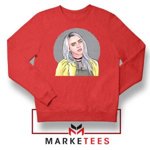 Billie Eilish Art Design Red Sweatshirt