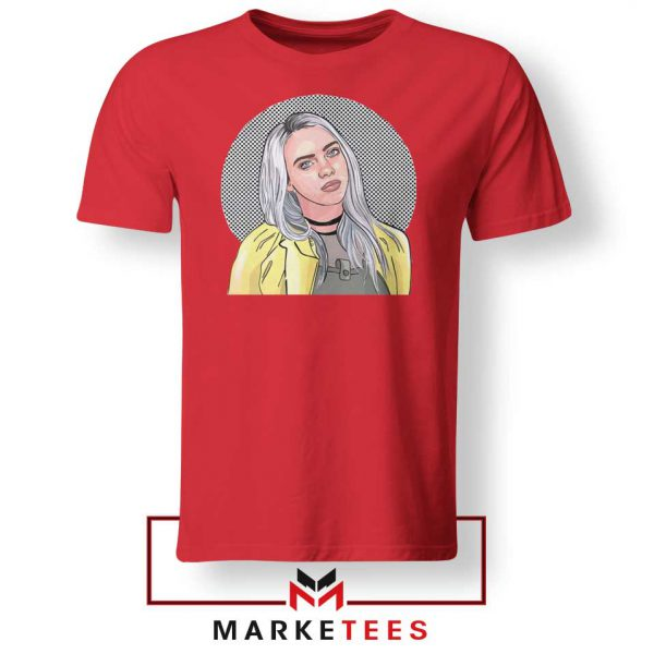 Billie Eilish Art Design Red Tee Shirt