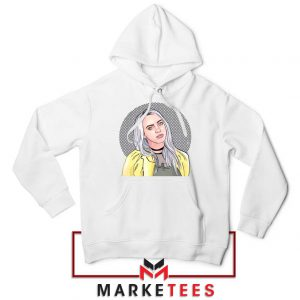 Billie Eilish Art Design White Hoodie