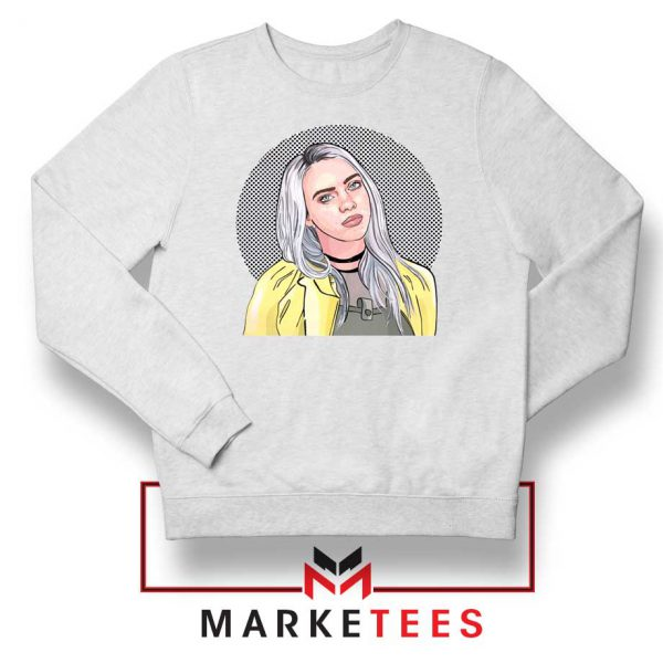 Billie Eilish Art Design White Sweatshirt