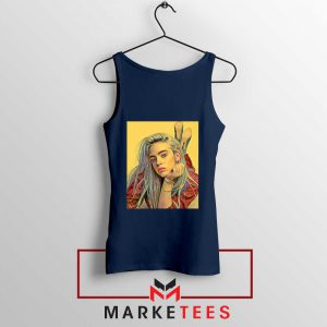 Billie Eilish Artist Music Navy Blue Tank Top