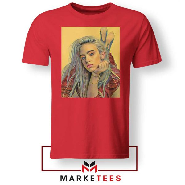 Billie Eilish Artist Music Red Tee Shirt