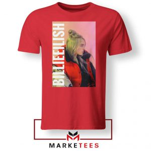 Billie Eilish Artist Poster Red Tee Shirt