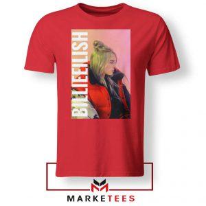 Billie Eilish Artist Poster Red Tee Shirt
