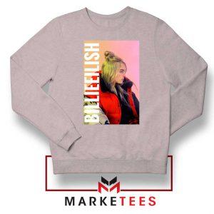 Billie Eilish Artist Poster Sport Grey Sweater