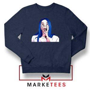 Billie Eilish Crying Navy Blue Sweater